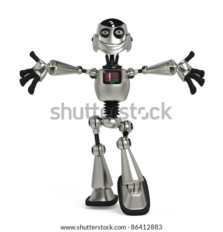funny robot in give me a hug - stock photo