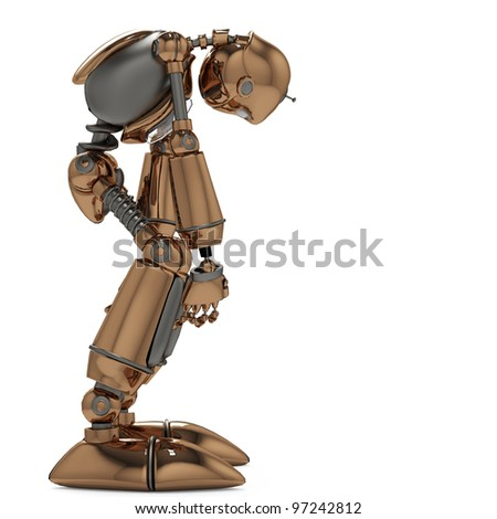 funny robot in shuting down mode side view