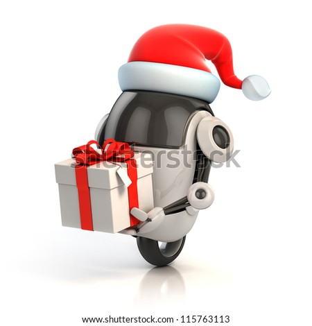 funny robot with santa's hat and gift box - christmas 3d concept - stock photo