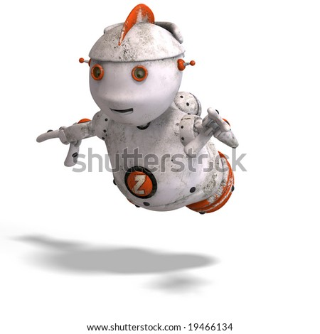 funny roboter with a lovely face and Clipping Path
