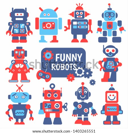 Funny robots set 10 cheerful robots for design.
