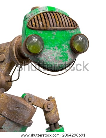 funny rusty robot id portrait in white background, 3d illustration