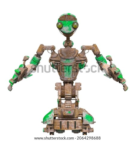 funny rusty robot in white background, 3d illustration