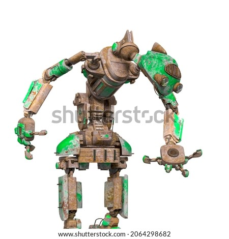 funny rusty robot is holding and looking down in white background, 3d illustration