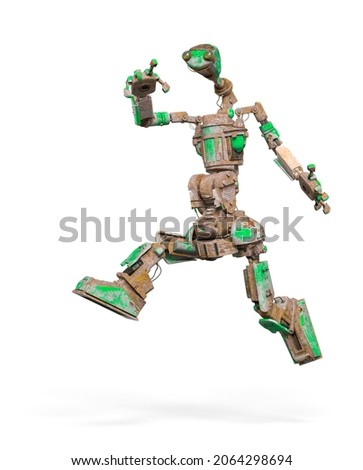 funny rusty robot is jumping in white background, 3d illustration