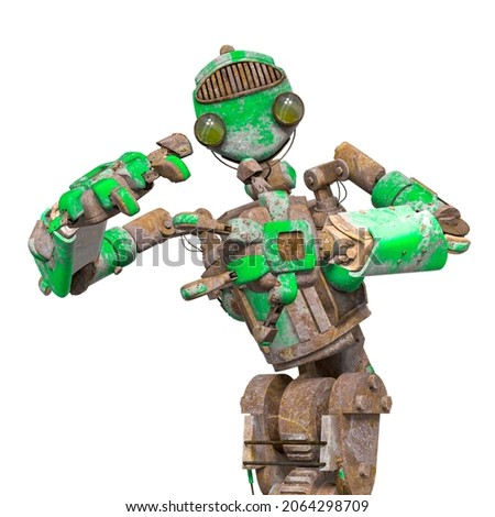 funny rusty robot is planing something in white background, 3d illustration