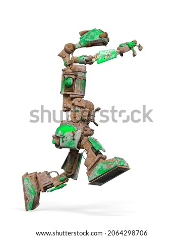 funny rusty robot is running in white background, 3d illustration