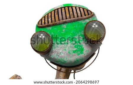 funny rusty robot is smiling in white background, 3d illustration