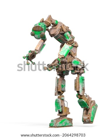 funny rusty robot is walking and looking down  in white background, 3d illustration
