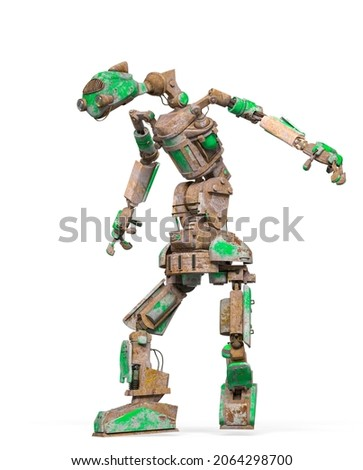 funny rusty robot is walking in white background, 3d illustration