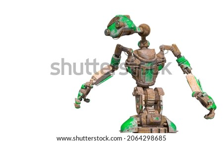 funny rusty robot with copy space in white background, 3d illustration