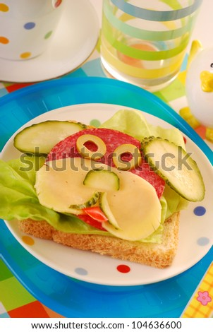 funny sandwich with puppy shape as breakfast for child