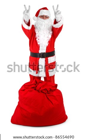 Funny Santa Claus isolated on white background, minimal natural shadow in front