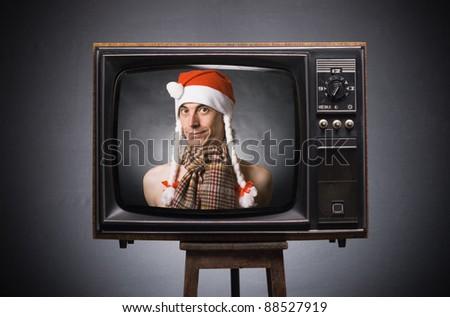 Funny Santa Claus wishes of retro TV.
