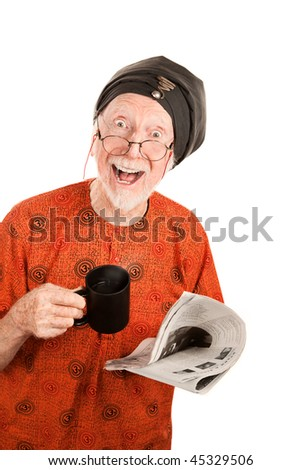 Funny senior guru with newspaper and coffee