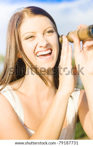 Funny Sight Concept With An Attractive Girl Laughing While Scouting The Skies With A Vintage Ocular Telescope Or Monocular