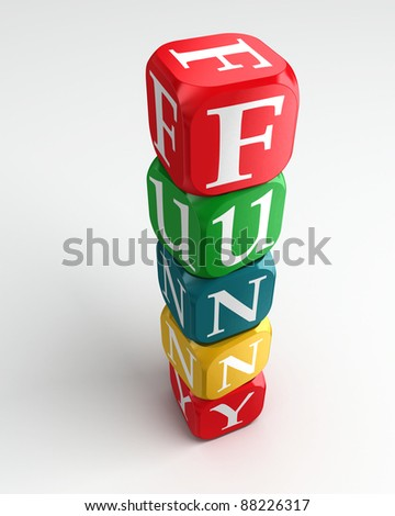 funny sign 3d colorful box tower on white background