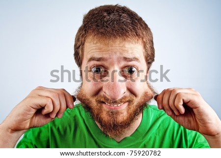 Funny silly man with hairy face