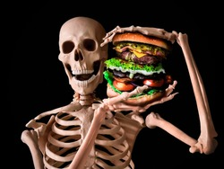 funny skeleton eating deadly junk food and have a bad lifestyle