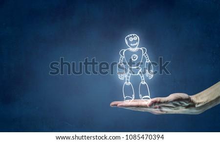 Funny sketched robot #1085470394