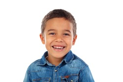 Funny small child with denim t-shirt isolated on a white background