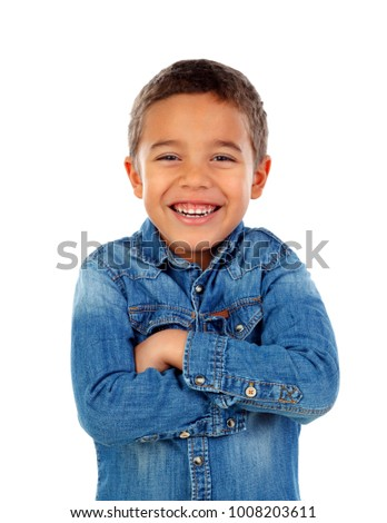 Funny small child with denim t-shirt isolated on a white background #1008203611