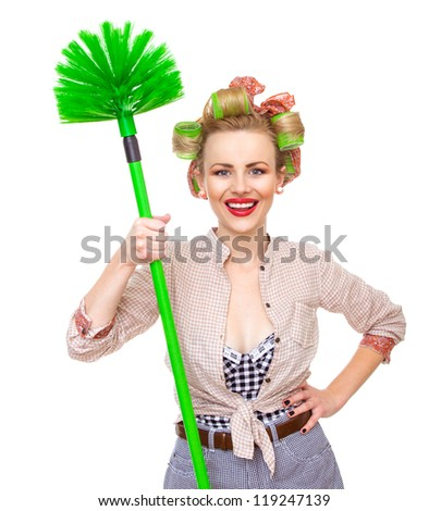 Funny smile housewife / girl with broom, isolated on white. Close up domestic woman