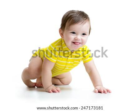 funny smiling baby boy crawling ...