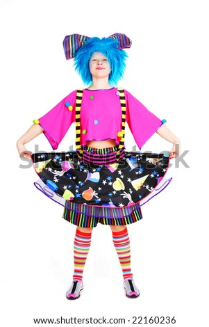Funny smiling clown with blue hair in bright cloth