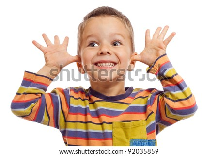 Funny smiling little children, showing their teeth and hands, isolated on white