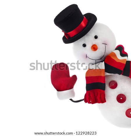 funny snowman isolated on white background