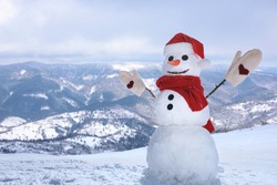 Funny snowman outdoors on sunny day, space for text