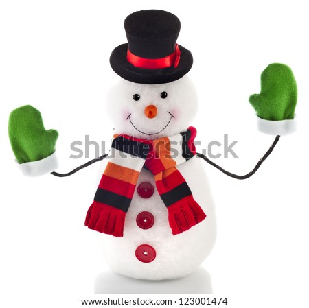 funny snowman with green mittens  isolated on white background