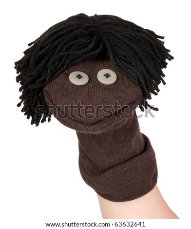 Funny sock puppet smiling - stock photo