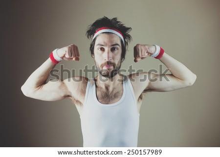 Funny sports Nerd posing