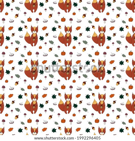 Funny squirrel pattern with leaves, mushrooms, pumpkins, berries on light white. Seamless natural pattern. Hand-drawn illustration with curved lines. Design for fabric, clothing and other objects. Aut Stock fotó ©