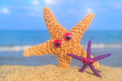Funny star fishes with eyes at the beach with the sea in the background