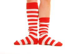 funny striped red socks isolated on white