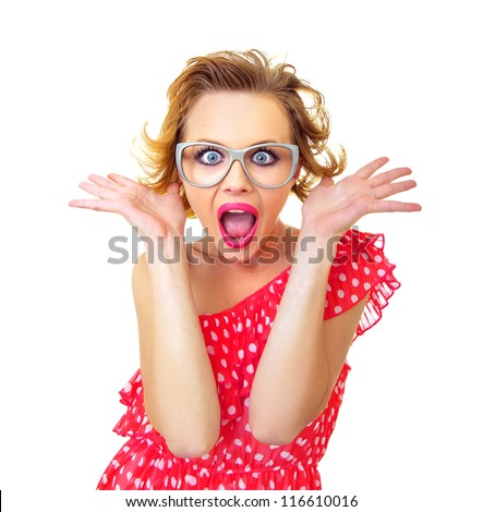 Funny surprised pin-up girl, isolated on white. Freak out woman