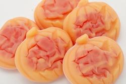 Funny sweet Halloween pumpkin jelly.