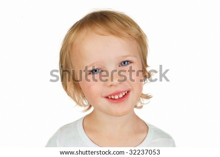 Funny toddler girl portrait isolated on white background