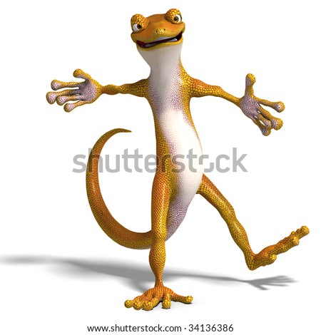 funny toon gecko. 3D render with clipping path and shadow over white - stock photo