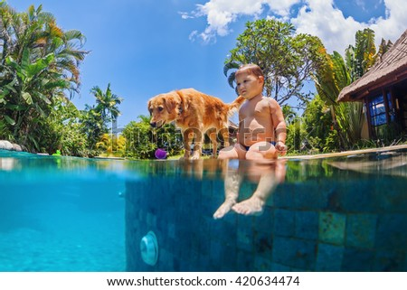 Funny underwater photo of little baby and dog swimming in blue outdoor pool. Children water sports activity and lessons, training dogs, fun games with family pet on summer beach holiday.