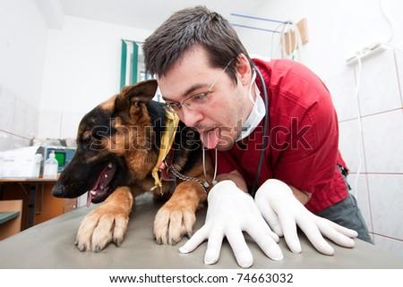 Funny vet imitating his german shepherd patient