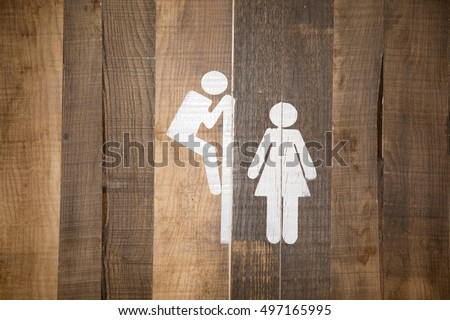 Funny wc restroom symbols man trying to look at woman in toilet