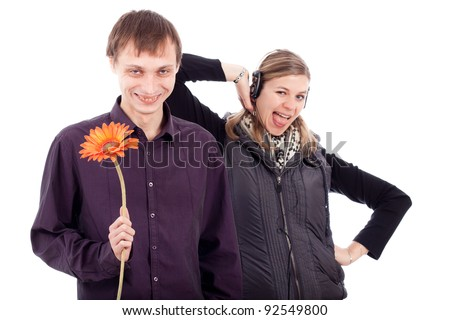 Funny weird couple, ugly man holding flower and rebel woman, isolated on white background.