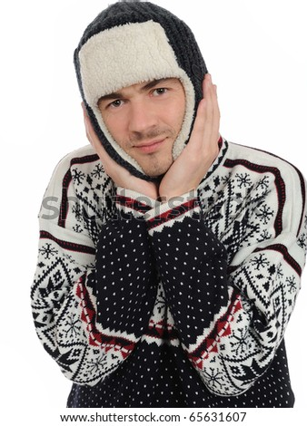 Funny winter man in warm hat and clothes. isolated on white background - stock photo