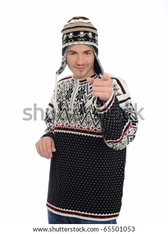 Funny winter man in warm hat and clothes smiling. isolated on white background