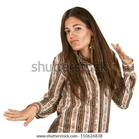 Funny woman dancing with hand gestures over white background