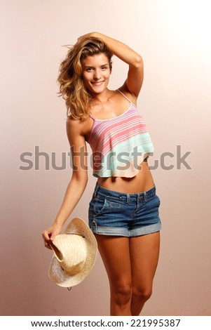 funny woman portrait on brown background. wow. surprised emotion